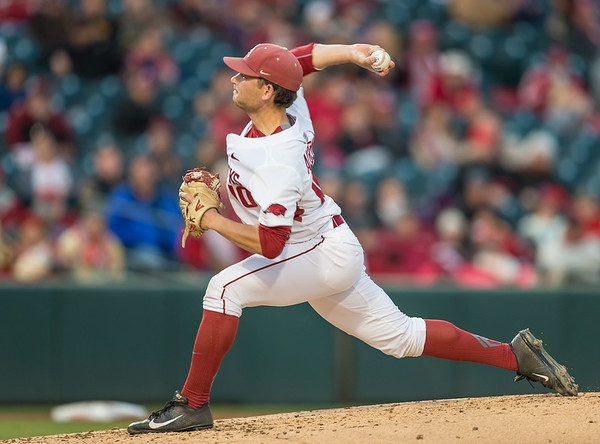 Arkansas pitcher Josh Alberius (10) pitches during a baseball game between Arkansas and Missouri on 4-1-16.  (Alan Jamison, Nate Allen Sports Service)