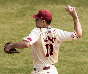 Arkansas pitcher Keaton McKinney (11) pitches during a baseball game between Arkansas and Central Michigan on 2-21-16.   (Alan Jamison, Nate Allen Sports Service)