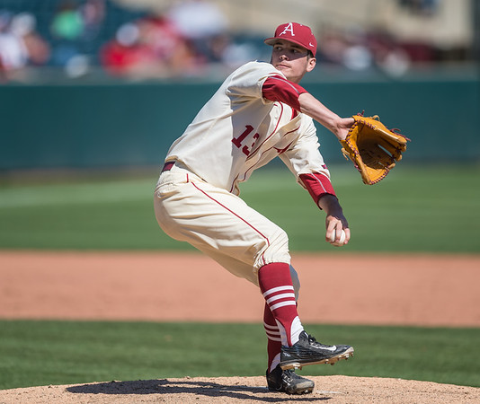 Arkansas pitcher Ty Harris (13) pitches during a baseball game between Arkansas and Missouri on 4-3-16.  (Alan Jamison, Nate Allen Sports Service)