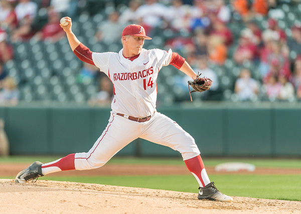 Arkansas pitcher Doug Willey (14) pitches during a baseball game between Arkansas and Oklahoma State University on 4/26/2016.   (Alan Jamison, Nate Allen Sports Service)