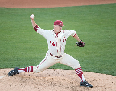 Arkansas Razorbacks pitcher Doug Willey (14) pitches during a baseball game between Alabama and Arkansas on May 14, 2016.   (Alan Jamison)