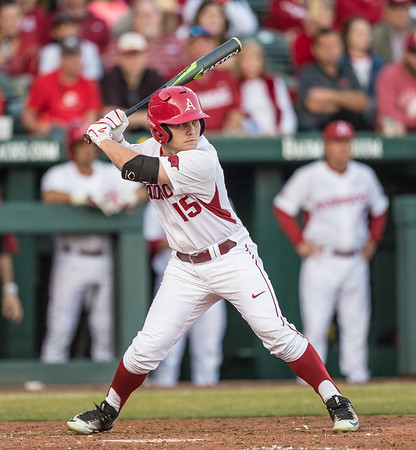 Arkansas outfielder Jake Arledge (15) at bat during a baseball game between Arkansas and Central Michigan on 2-19-16.   (Alan Jamison, Nate Allen Sports Service)