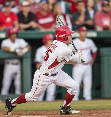 Arkansas outfielder Jake Arledge (15) takes off for first base during a baseball game between Arkansas and Central Michigan on 2-19-16.   (Alan Jamison, Nate Allen Sports Service)