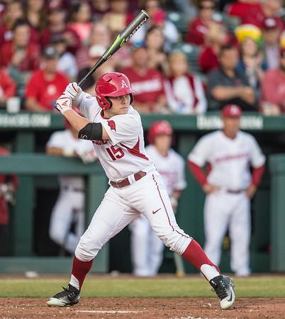 Arkansas outfielder Jake Arledge (15) at bat during a baseball game between Arkansas and Central Michigan on 2-19-16.   (Alan Jamison, Nate Allen Sports Service)
