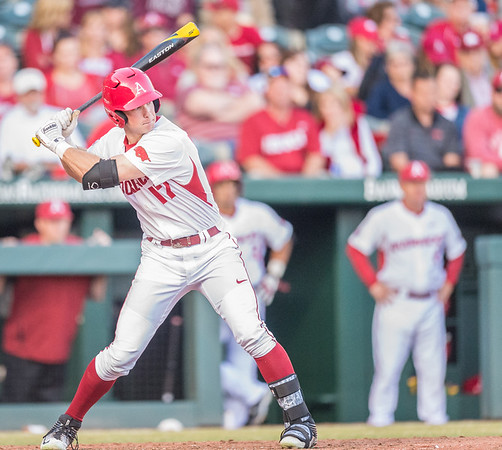 Arkansas outfielder Luke Bonfield (17) at bat during a baseball game between Arkansas and Central Michigan on 2-19-16.   (Alan Jamison, Nate Allen Sports Service)