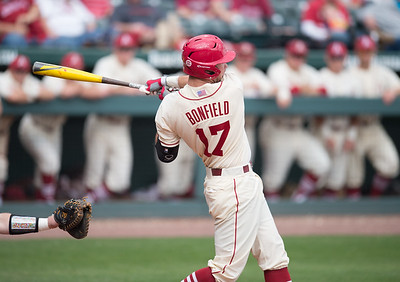 Arkansas outfielder Luke Bonfield (17) bats during a baseball game between Arkansas and Western Illinois on 3-5-16.   (Alan Jamison, Nate Allen Sports Service)