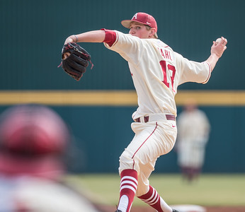 Arkansas pitcher Anthony Dahl (18) pitches in relief during a baseball game between Arkansas and Central Michigan on 2-21-16.   (Alan Jamison, Nate Allen Sports Service)