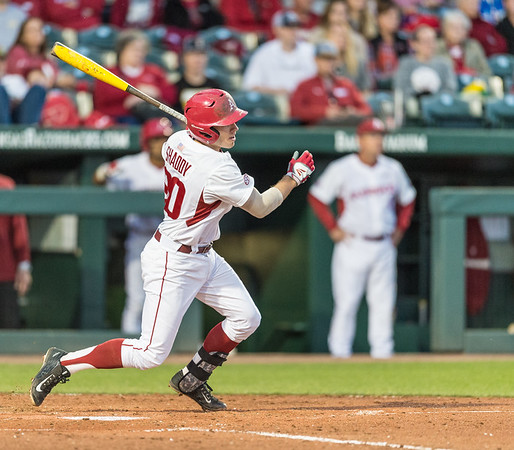 Arkansas catcher Carson Shaddy (20) hits during a baseball game between Arkansas and Grambling State on 3-15-2016.    (Alan Jamison, Nate Allen Sports Service)