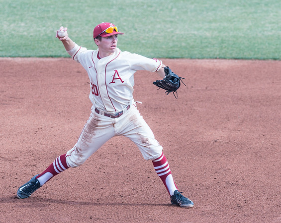 Arkansas catcher Carson Shaddy (20) fields a ball during a baseball game between Arkansas and Central Michigan on 2-21-16.   (Alan Jamison, Nate Allen Sports Service)