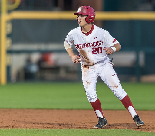 Arkansas catcher Carson Shaddy (20) is ready to run to third base during a baseball game between Arkansas and Grambling State on 3-15-2016.    (Alan Jamison, Nate Allen Sports Service)