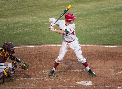 Arkansas catcher Tucker Pennell (27) at bat during a baseball game between Arkansas and Central Michigan on 2-19-16.   (Alan Jamison, Nate Allen Sports Service)