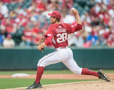 Arkansas pitcher James Teague (28) pitches during a baseball game between Arkansas and Texas A&M University on 4/30/2016.   (Alan Jamison, Nate Allen Sports Service)