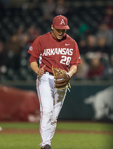 Arkansas pitcher James Teague (28) reacts to a strike out during a baseball game between Arkansas and Missouri on 4-2-16.  (Alan Jamison, Nate Allen Sports Service)