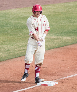 Arkansas infielder Cullen Gassaway (29) on third base with a triple during a baseball game between Arkansas and Central Michigan on 2-21-16.   (Alan Jamison, Nate Allen Sports Service)