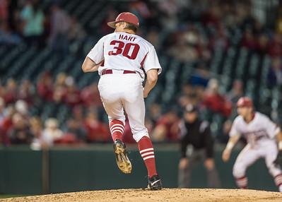 Arkansas pitcher Hunter Hart (30) pitches during a baseball game between Arkansas and Florida on 4/14/2016.   (Alan Jamison, Nate Allen Sports Service)