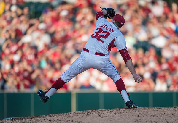 Arkansas pitcher Zach Jackson (32) during a baseball game between Arkansas and Central Michigan on 2-19-16.   (Alan Jamison, Nate Allen Sports Service)