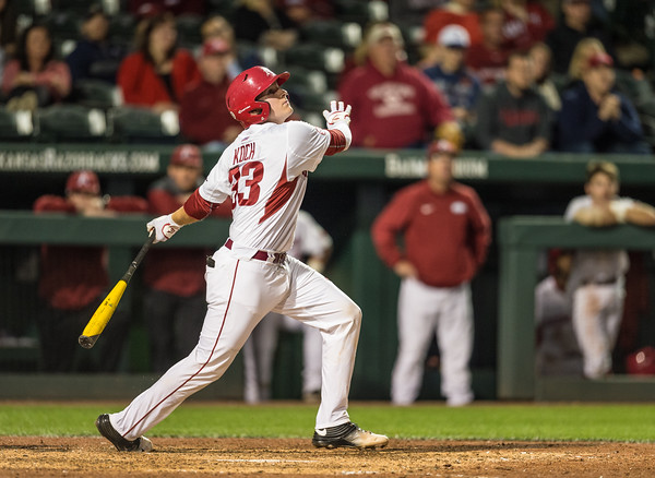 Arkansas catcher Grant Koch (33) bats during a baseball game between Arkansas and Florida on 4/14/2016.   (Alan Jamison, Nate Allen Sports Service)