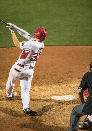 Arkansas Razorbacks catcher Grant Koch (33) hits uring a baseball game between Alabama and Arkansas on May 13, 2016.   (Alan Jamison)