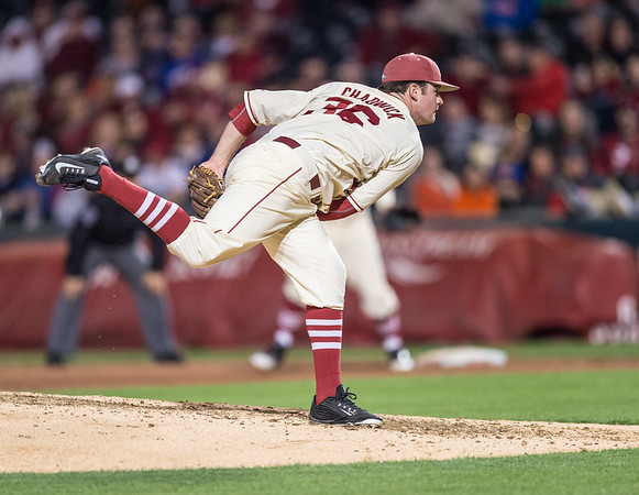 Arkansas pitcher Cannon Chadwick (36) pitches during a baseball game between Arkansas and Florida on 4/16/2016.   (Alan Jamison, Nate Allen Sports Service)