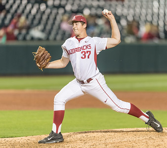 Arkansas pitcher Weston Rogers (37) pitches during a baseball game between Arkansas and Texas A&M University on 4/30/2016.   (Alan Jamison, Nate Allen Sports Service)