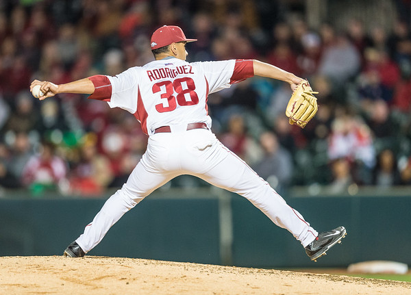 Arkansas pitcher Jordan Rodriguez (38) pitches during a baseball game between Arkansas and Auburn on 3-25-16.  (Alan Jamison, Nate Allen Sports Service)