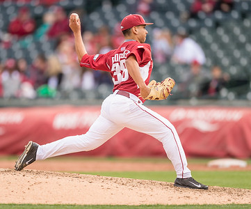 Arkansas pitcher Jordan Rodriguez (38) pitches during a baseball game between Arkansas and Florida on 4/16/2016.   (Alan Jamison, Nate Allen Sports Service)