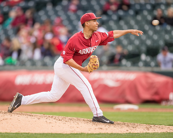 Arkansas pitcher Jordan Rodriguez (38) pitches during a baseball game between Arkansas and Florida on 4/16/2016.   (Alan Jamison, Nate Allen Sports Service)