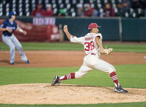 Arkansas pitcher Jordan Rodriguez (38) pitches during a baseball game between Arkansas and Creighton on 4/19/2016.   (Alan Jamison, Nate Allen Sports Service)