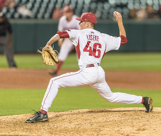 Arkansas pitcher Barrett Loseke (46) pitches during a baseball game between Arkansas and Texas A&M University on 4/30/2016.   (Alan Jamison, Nate Allen Sports Service)