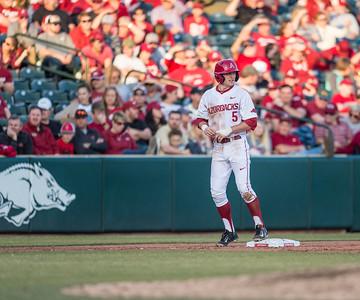 Arkansas infielder Cody Scroggins (5) at third base during a baseball game between Arkansas and Central Michigan on 2-19-16.   (Alan Jamison, Nate Allen Sports Service)