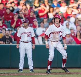 Arkansas infielder Cody Scroggins (5) on third base during a baseball game between Arkansas and Central Michigan on 2-19-16.   (Alan Jamison, Nate Allen Sports Service)