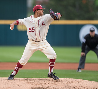 Arkansas pitcher Isaiah Campbell (55) pitches during a baseball game between Arkansas and Creighton on 4/19/2016.   (Alan Jamison, Nate Allen Sports Service)