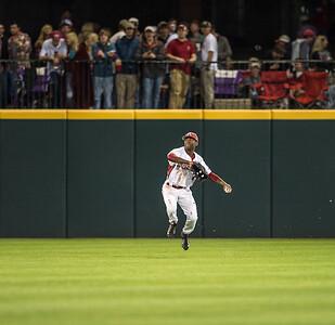 Arkansas outfielder Darien Simms (7) fielding during a baseball game between Arkansas and Florida on 4/14/2016.   (Alan Jamison, Nate Allen Sports Service)
