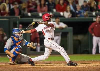 Arkansas outfielder Darien Simms (7) bats during a baseball game between Arkansas and Florida on 4/14/2016.   (Alan Jamison, Nate Allen Sports Service)