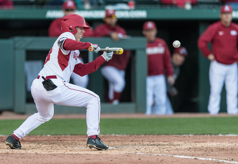 Arkansas outfielder Eric Cole (8) bunts during a baseball game between Arkansas and Rhode Island on Friday, 3/10/2017.  (Alan Jamison, Nate Allen Sports Service)