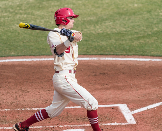 Arkansas outfielder Clark Eagan (9) at bat during a baseball game between Arkansas and Central Michigan on 2-21-16.   (Alan Jamison, Nate Allen Sports Service)