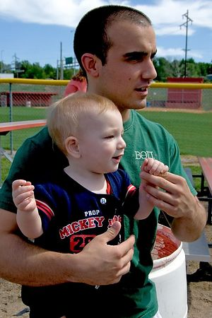 "<br><br><font size=""3"">Uncle Steve and little brother Jacob watch from the stands.</font>"