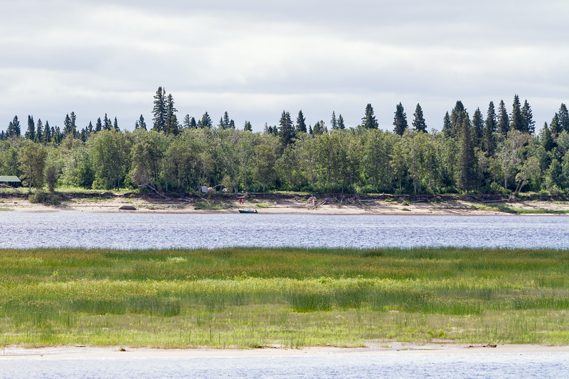 Looking across the Moose River towards Charles Island (Tidewater Park).