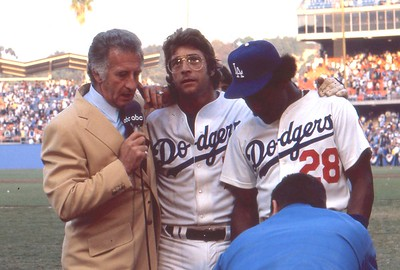 Bob Uecker interviews Steve Yaeger, Pedro Guerroro post game, 1978 World Series