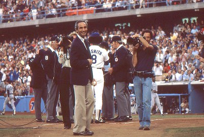 Sandy Koufax ready to throw out first pitch, 1978 World Series, Chuck Cohen films him