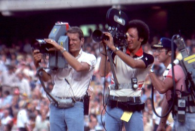 Chuck on field pre game next to NBC Sports Live Cameraman, 1977 World Series, Dodger Stadium