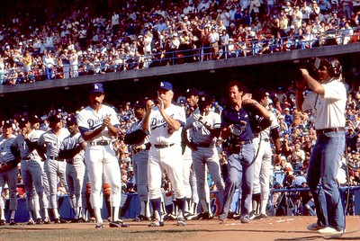 Chuck on field during '78 World Series, Dodgers:Yankees, pregame player intro's