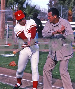 Ted Williams and Johnny Bench compare hitting notes, 1981, Tucson, AZ