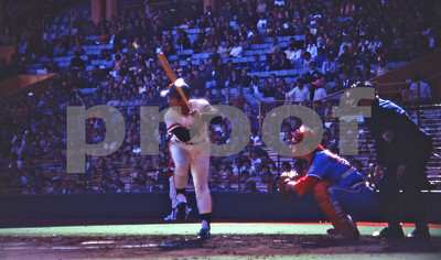 Sadahara Oh, The Hank Aaron of Japan, in his classic stance as the Japanese All-Stars play the American All-Stars in Tokyo, Japan, 1979