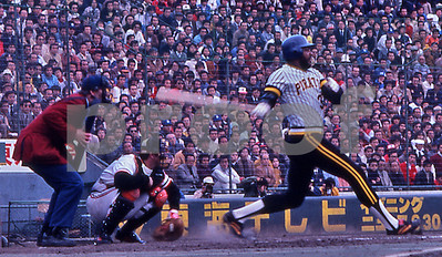 Big Dave Parker of the Pittsburgh Pirates slams a home run against the Japanese All-Star team in Tokyo, 1979