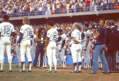Chuck on field, Nationl Anthem, '78 World Series, Dodger Stadium vs Yankees