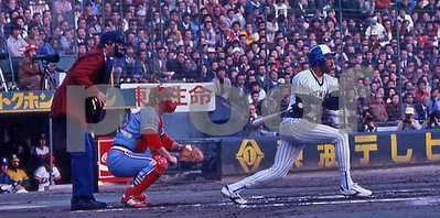 The Milwaukee Brewers and American League All-Star Cecil Cooper hits a double against the National League All-Stars during their tour of Japan in 1979