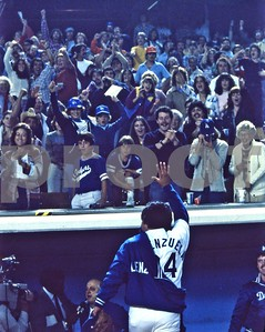Los Angeles Dodgers Fernando Valenzuela and his adoring fans after playoff win, Chavez Ravine, Dodger Stadium