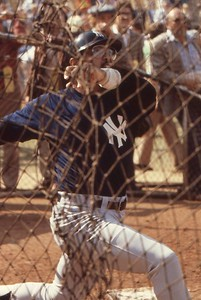 Yankees Reggie Jackson in batting cage pre game World Series, Dodger Stadium, '78