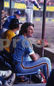 Philadelphia Phillies Pete Rose scans field in Japanese Baseball Stadium, 1979